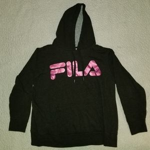 Grey and pink Fila hoodie